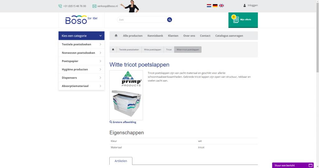 Boso webshop screen
