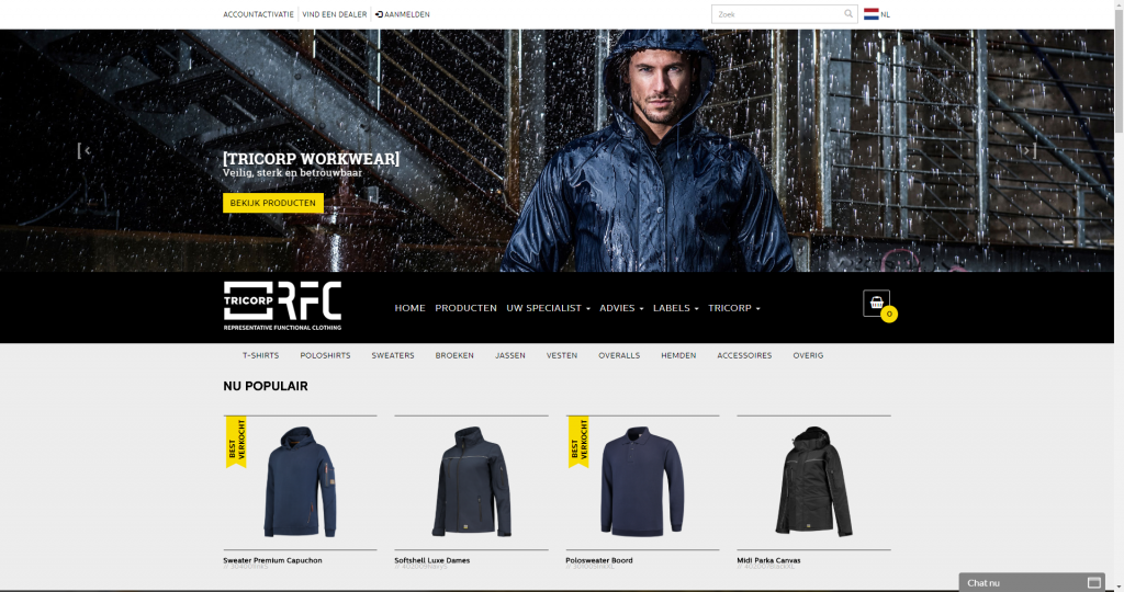 Tricorp webshop screen