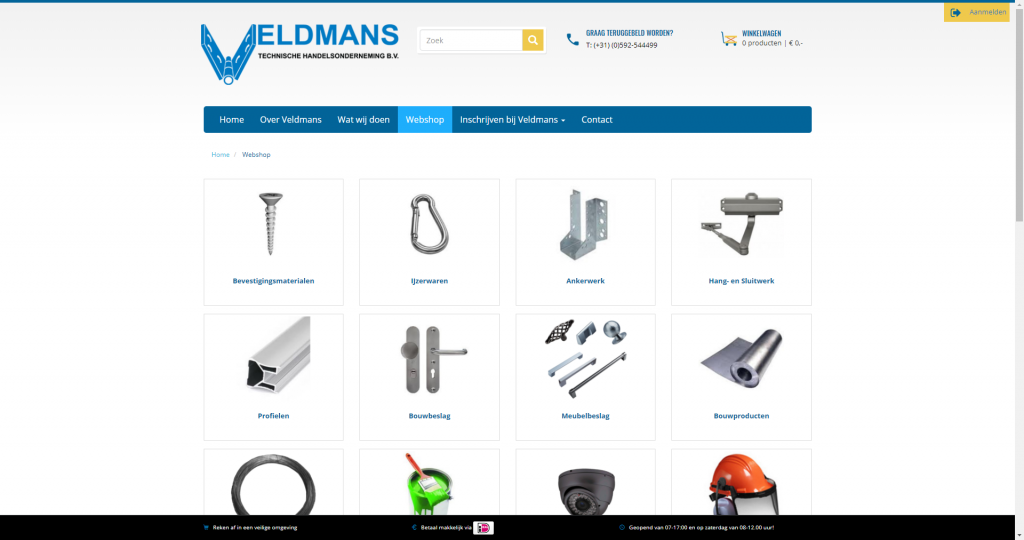 Veldmans webshop screen