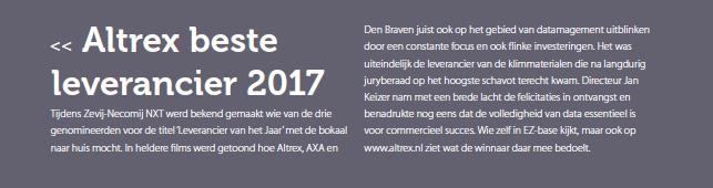 Altrex beste leverancier 2017 (2017-6-23)